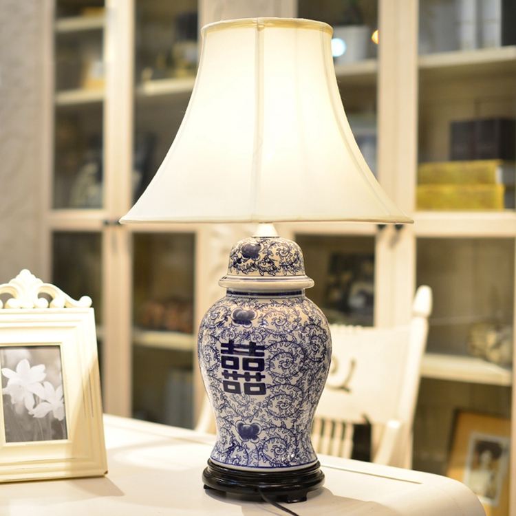 Chinese Traditional Table Lamp Blue White Porcelain Ginger