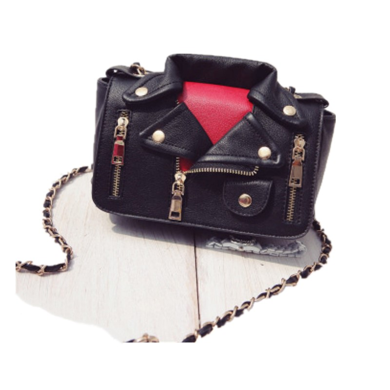 New European Brand Designer Chain Motorcycle Bags Women Clothing Shoulder Rivet Jacket Bags Messenger Bag Women Leather HandbagsNew European Brand Designer Chain Motorcycle Bags Women Clothing Shoulder Rivet Jacket Bags Messenger Bag Women Leather Handbags