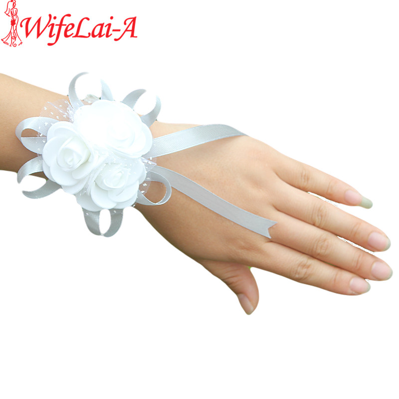 WifeLai-A 2piece PE Rose Hand Wrist Flower With Ribbon Wedding Accessories For Wedding Bride Boutonniere And Groom SW003