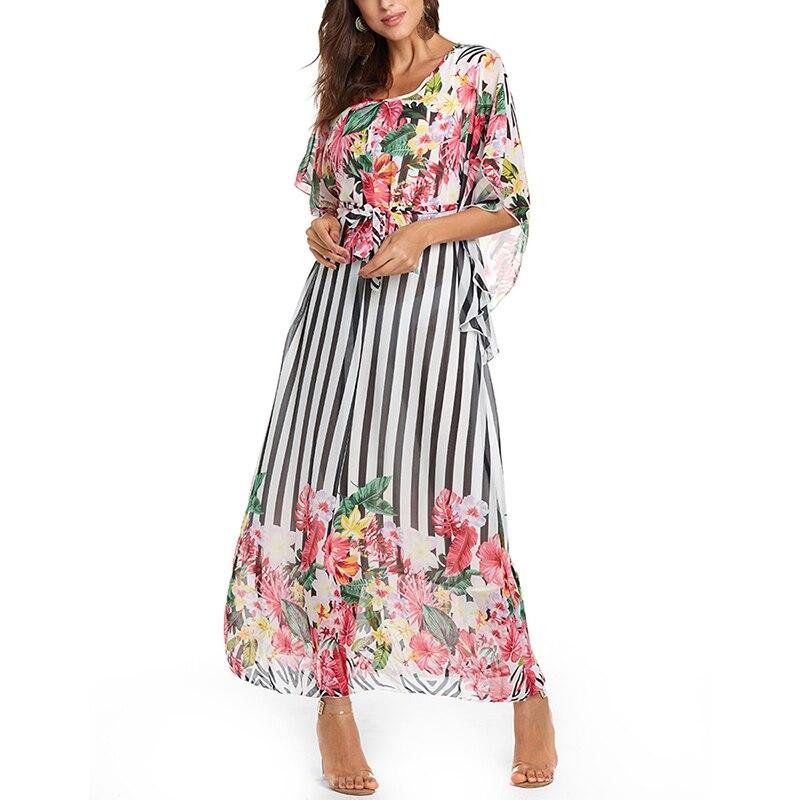 Летнее женское шифоновое длинное платье в обтяжку с принтом в полоску с рукавом летучая мышь пляжное макси свободное платье вечернее плать...