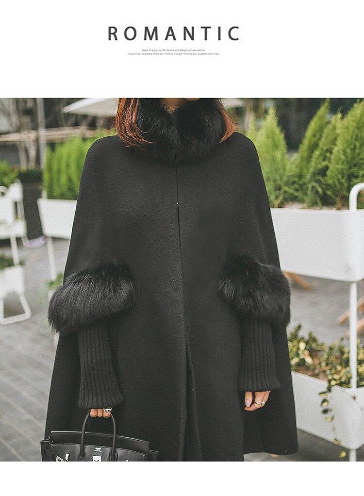 HAMALIEL, женский черный плащ с меховым воротником, шерстяное пальто,, зимнее кашемировое шерстяное пальто с длинным рукавом, повседневное пончо, теплое, плюс размер, накидка, пальто