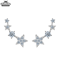 Lucky Stars Earrings Stud 925 Sterling Silver Double AAA Cubic Zirconia Earrings Simulated Diamond Jewelry