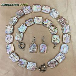 Barock keshi perle choker erklärung halskette armband armreif haken ohrringe set peach bunte flache quadratische form big size perlen
