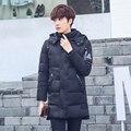 Зимняя куртка пальто дизайнер утолщение длинные пальто куртка с капюшоном случайные хлопка куртки мужские зимние Slim down пальто мужчины
