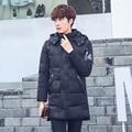 Parka de invierno abrigo engrosamiento diseñador abrigos largos encapuchados chaqueta de algodón ocasional de los hombres de la chaqueta de invierno Slim down abrigo de los hombres