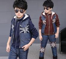 Boys 3Piece Add Velvet Tracksuits 2016 Winter Children Clothing Sets Boys Hoodies Vest Fleece Pants Sports