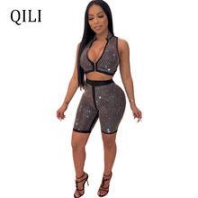 QILI Diamonds Rhinestone Women Rompers Two Piece Set Short Pants Sets Romper Womens Sleeveless Zipper Diamond Jumpsuit New