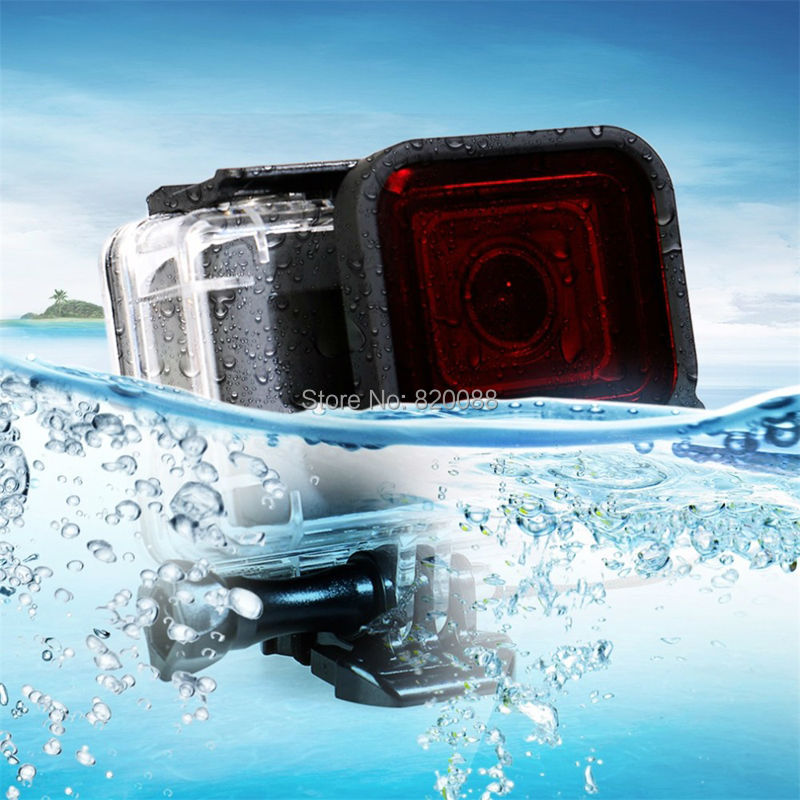 Underwater 45M Waterproof Protective Shell Case with Activity Base and Red Filter Scuba Diving Lens Filter for Gopro Hero 5