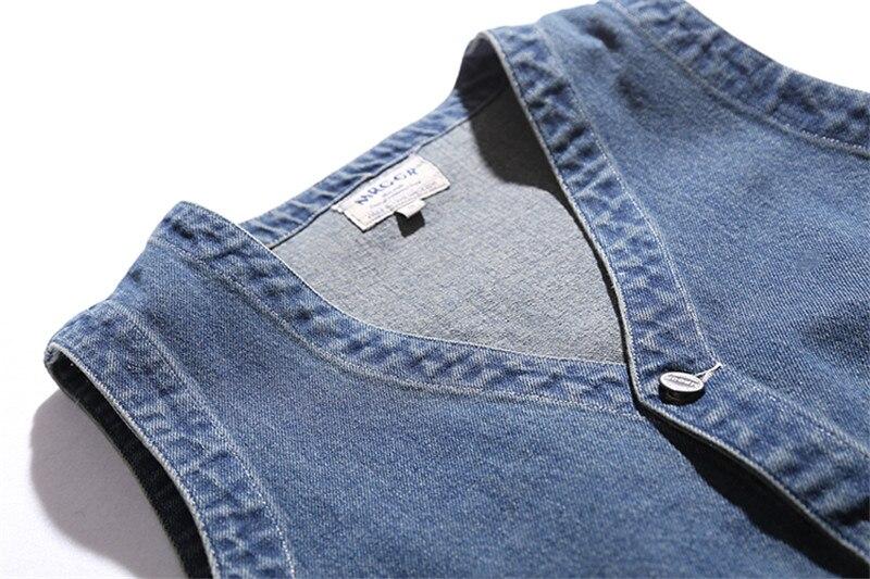 Sans Vintage Cowboy Veste Ample Jeans Manches Denim Décontracté Lavé Mode Rétro Blue Ds50101 Vests Automne Hommes Gilet Coton 74q50w7Ox
