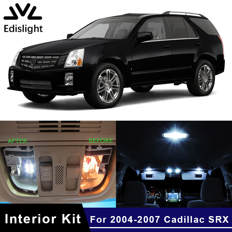 Edislight 14pcs Ice Blue Canbus Led Lamp Car Bulbs Interior Package Kit For 2004-2007 Cadillac Srx Map Dome Door Plate Light Bright In Colour