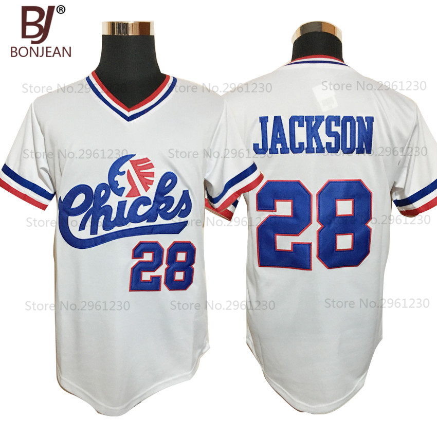 Cheap font b Mens b font 28 Bo Jackson Chicks Throwback Baseball Jersey White Movie Jersey