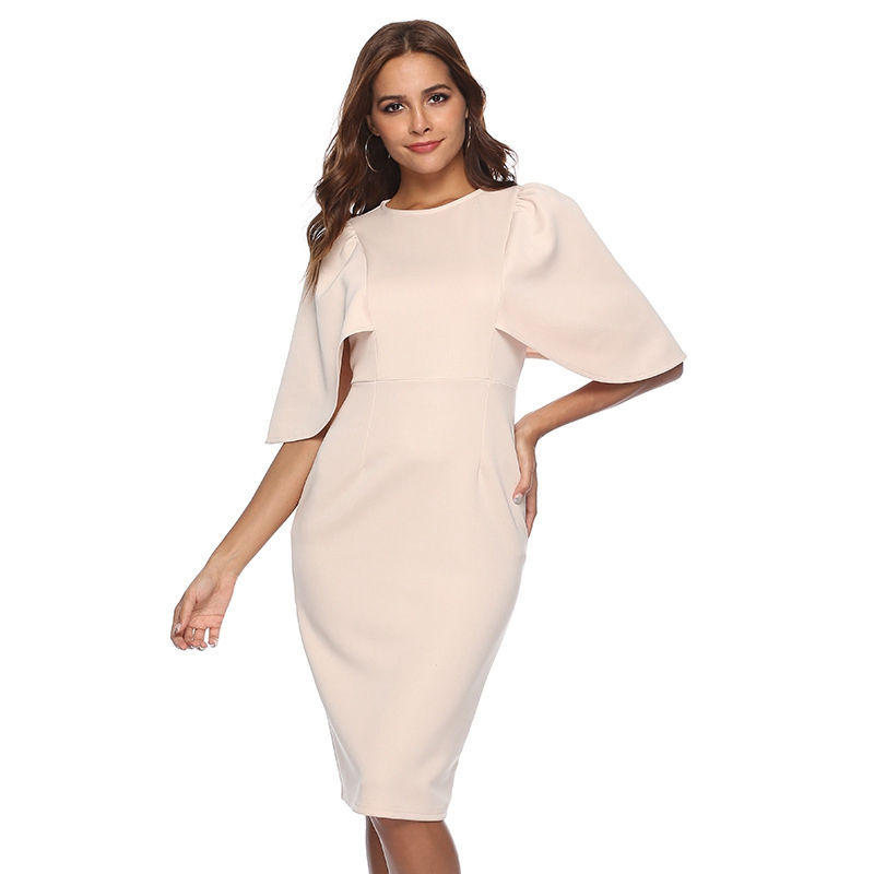 Women Elegant Ruffle Sleeve Ruched Pinup Vestidos Party Wear To Work Fitted Stretch Slim Wiggle Pencil Sheath Bodycon Dress Suit 11