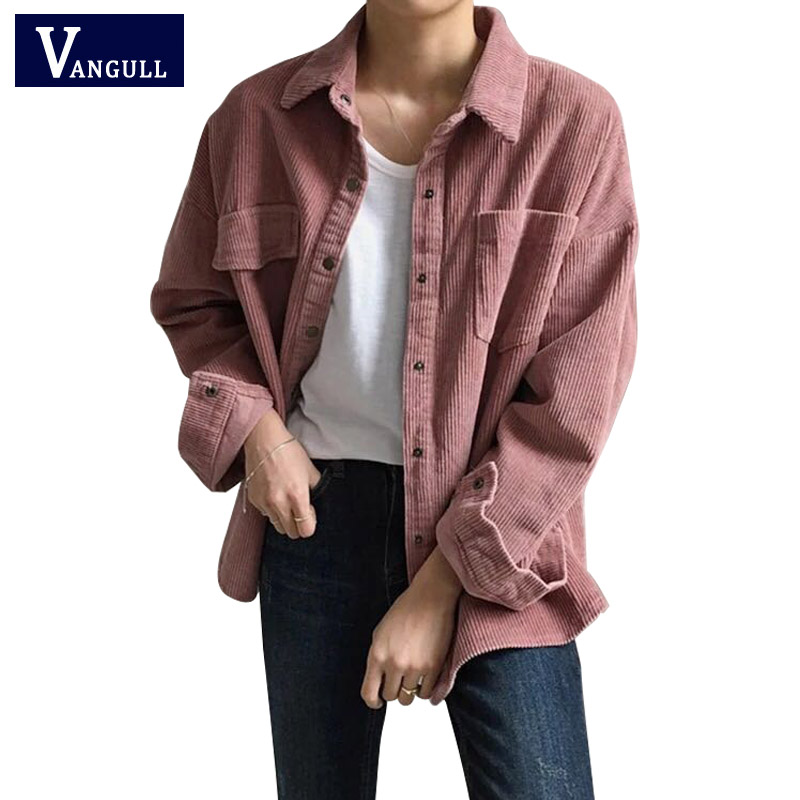 New Harajuku Corduroy Jackets Women Winter Autumn Coats Plus Size Overcoats Female Big Tops Cute Jackets Solid Color Clothing(China)