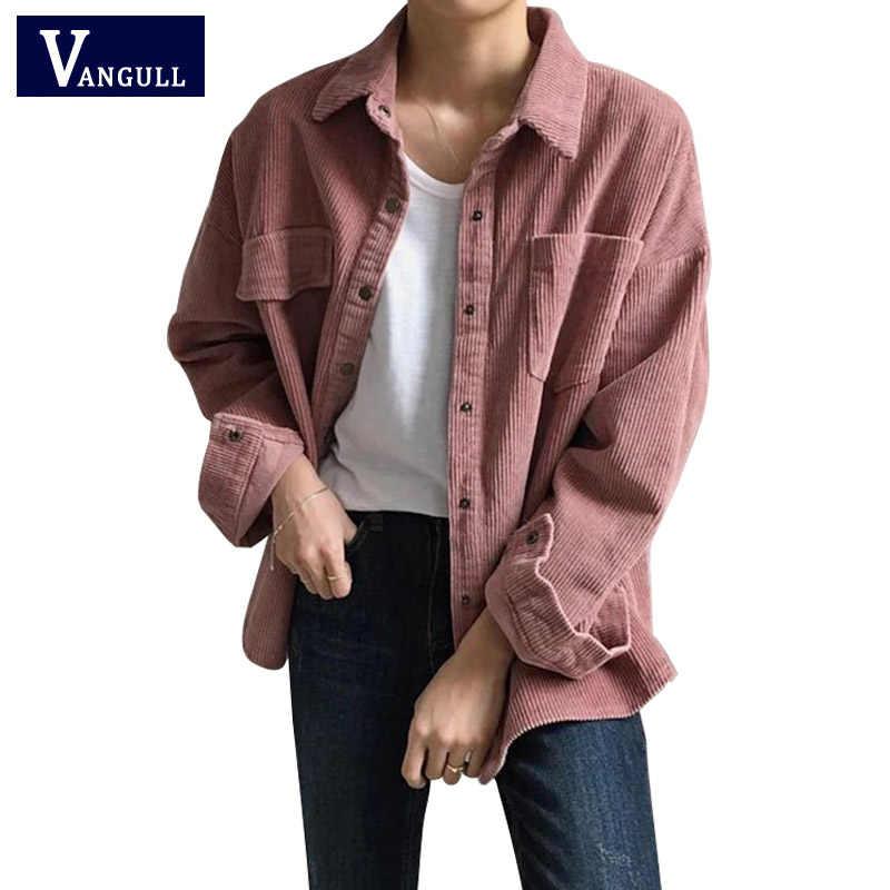 Nowy Harajuku sztruks kurtki damskie zimowe jesień płaszcze Plus rozmiar płaszcze damskie duże topy słodkie kurtki jednolity kolor odzież