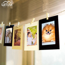 "10pcs 3"" 5"" 6"" Combination Wall Photo Frame DIY Hanging Picture Album Party Wedding Decoration Paper Photo Frame with Rope Clips"