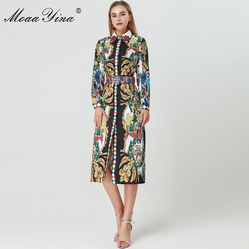 Kadın Giyim'ten Elbiseler'de MoaaYina 2018 Moda Tasarımcısı Pist Elbise Sonbahar Kadınlar Uzun kollu Turn down Yaka Elmas Kemer Vintage Karakter Baskı Elbise'da  Grup 2