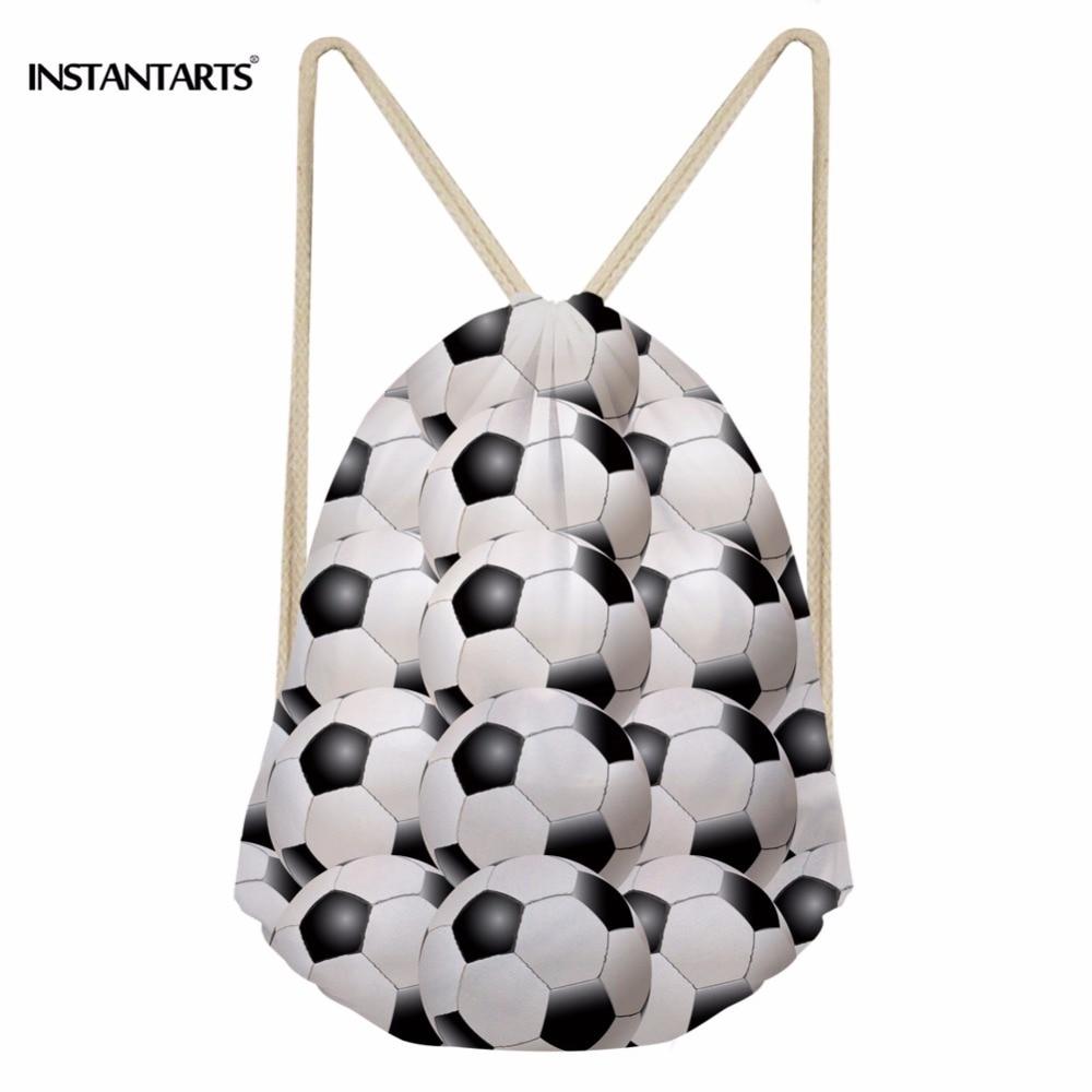 INSTANTARTS Men Ball Drawstring Bag 3D Ball Soccerly Print Male Casual Gym Sack Bag Small String Backpack Kids Children Softback