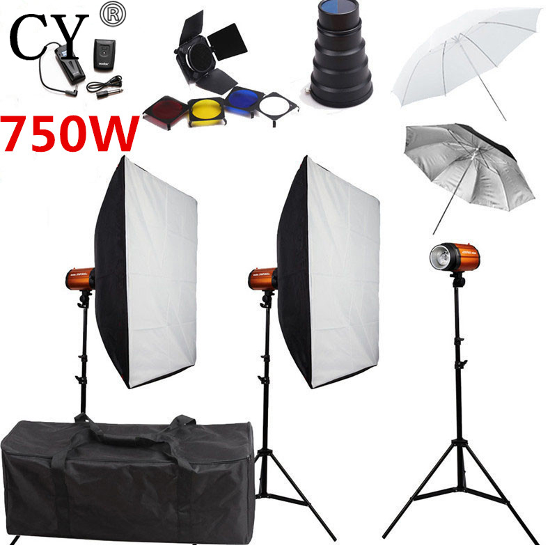 CY Photography Studio Flash Lighting Kits 750ws 220V Flash Light+Softbox+Umbrella+Stand for Photo Studio Godox Smart 250SDI foldable quick setup 90cm photo studio hexadecagon umbrella softbox reflector for flash speedlight photography lighting