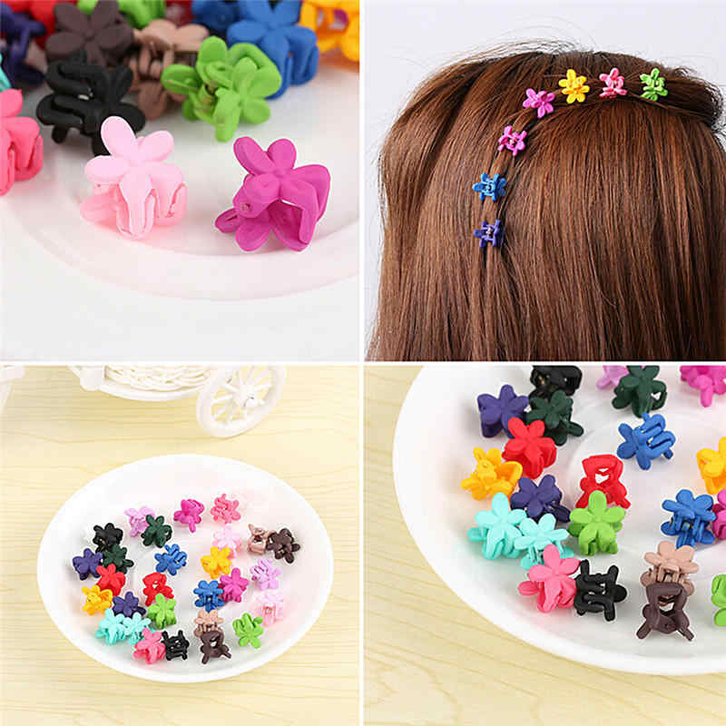 iMucci 10 pcs Fashion Mix Colored Girls Small Hair Claw Cute Candy Color flower Hair Jaw Clip Children Hairpin Hair Accessories