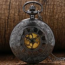 Black Gray Roman Dial quartz Vintage Antique Pocket Watch necklace watches with chain P413