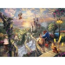 Алмазная картина вышивка крестиком Красавица и чудовище в замке круглая Стразовая вышивка картинка 5D алмазная вышивка KBL