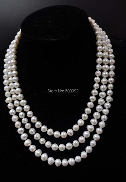 "AA 60 ""de largo 7-8mm naturales de agua dulce collar de perlas cultivadas envío gratis"