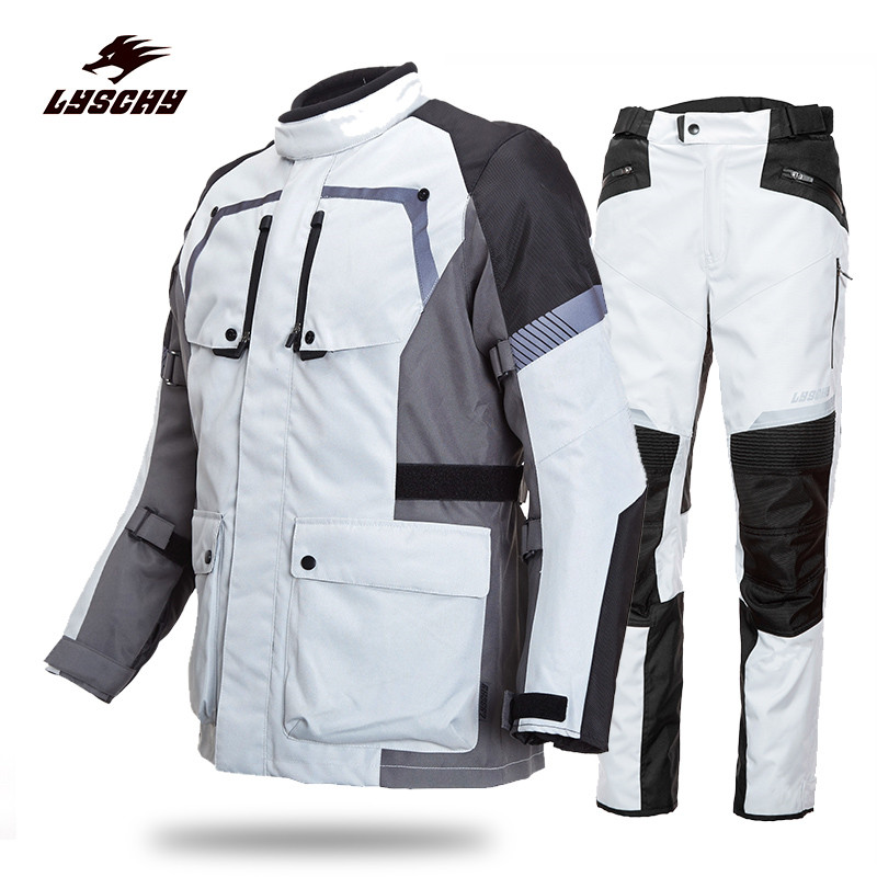 Motorcycle Protection Windproof Oxford Cloth Suit Men's Motocross Off-Road Racing Jacket Body Armor+ Riding Pants Clothing Set herobiker motorcycle riding body armor jacket knee pads set motorcross off road racing elbow chest protectors protective gear