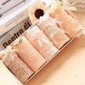 5pcs/lot Women Underwear Panties Girls Soft Skin Color Cotton Lace Bow Briefs  Women Underpants Wholesale Gift Packing