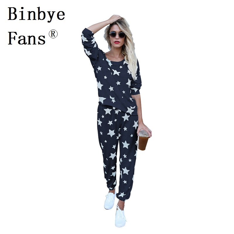 Binbye Fans Fitness 2 piece set Casual two piece set Tracksuit star print long sleeve top pants Loose sweat track suits CH229