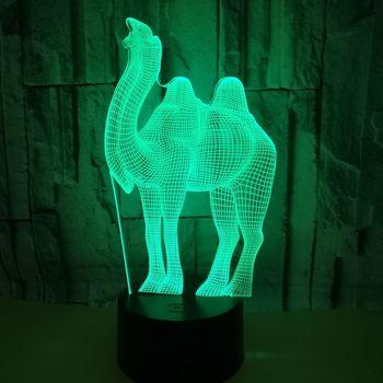 Hayvan 3d Lamba 7 Renk Dokunmatik Led Görüş Masa Lambaları Uzaktan Kumanda Kademeli 3d Gece Lambası Noel Siyah Dekorasyon Için ev