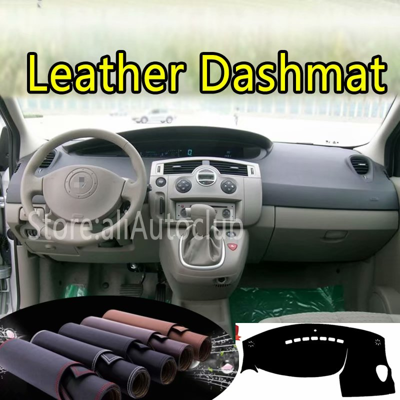 For Renault Scenic II 2003 2004 2005 2006 2007 2008 2009 Leather Dashmat Dashboard Cover Dash Carpet Custom Car Styling LHD+RHD