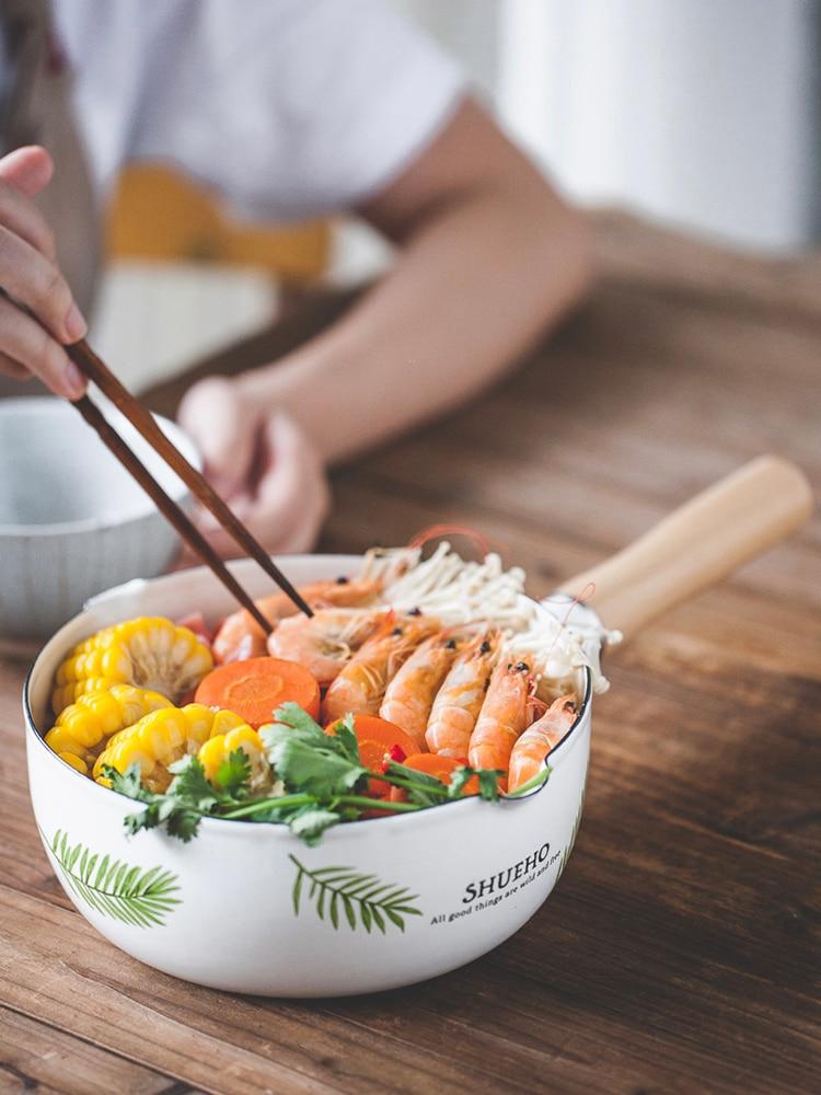 Style japonais porcelaine émail poêle à neige poignée en bois unique pot à soupe ménage cuisinière à gaz nouilles instantanées lait bébé pot