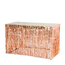 1pc Rose Gold Fringe Table Skirt Foil Tinsel for Showers Birthday Graduate Wedding Anniversary Nursary Decor