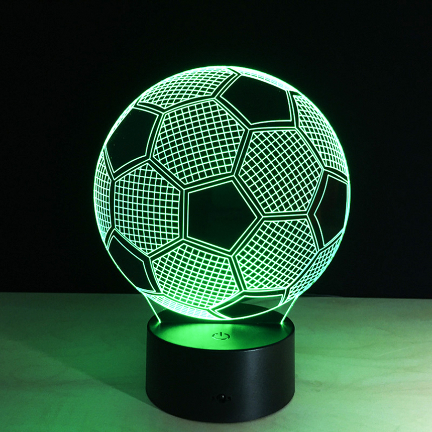 Hot Selling 3D Football Table Tesk Lamp Creative Touch Sensor Colorful Night Light Battery USB LED Lights lampara for Kids Room bolero gina bacconi bolero