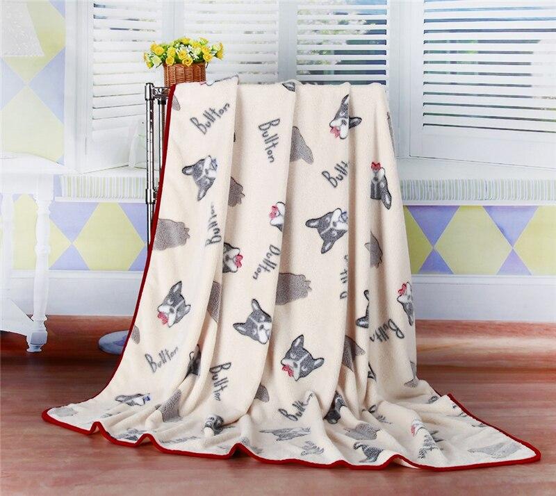 Winter Pet Blanket Beige Bullton Dog Printed Fleece Blankets for Adult/kids Warm Air Condition Blanket Throw Bed Sheet 150*200cm