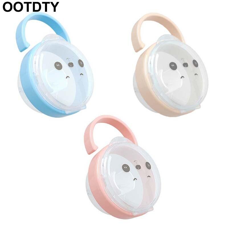 Baby Pacifier Storage Box Cartoon Panda Pattern Pacifiers Nipple Transparent Dust Boxes Portable