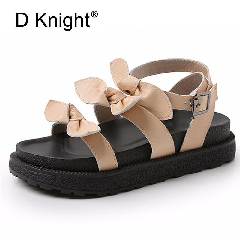 Women Flats Sandals Plus Size 34-43 New 2018 Summer Butterfly-Knot Casual Platform Woman Shoes Bohemia Gladiator Creeper Sandals plus size 34 44 summer shoes woman platform sandals women rhinestone casual open toe gladiator wedges women zapatos mujer shoes