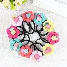 TS 5pcs Pumpkin flowers children girls hair accessories rubber bands barrettes girl headwear Retail wholesale Boutique