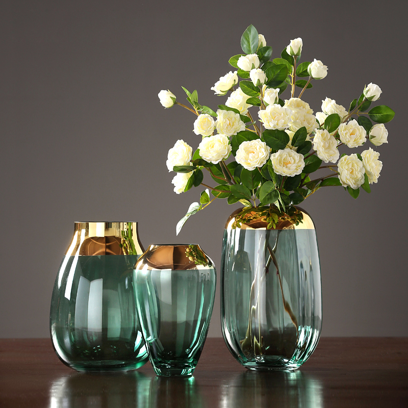 Modern luxury glass vases Grey green Hydroponics dried flower glass containers Electroplate large vase home decoration