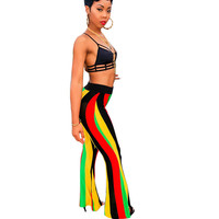 Fashion Leisure Rainbow Striped Wide Leg Pants For Women Slim Fit Full Length Flare Long Pants