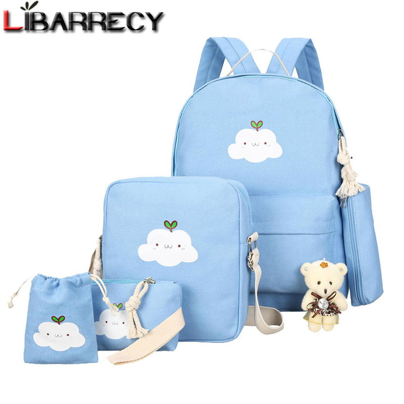 Simple Lovely Canvas Backpack for Children Clouds Printing 5 Set School Bags for Teenage Girls Cute Bookbags Mochilas Mujer 2018Simple Lovely Canvas Backpack for Children Clouds Printing 5 Set School Bags for Teenage Girls Cute Bookbags Mochilas Mujer 2018