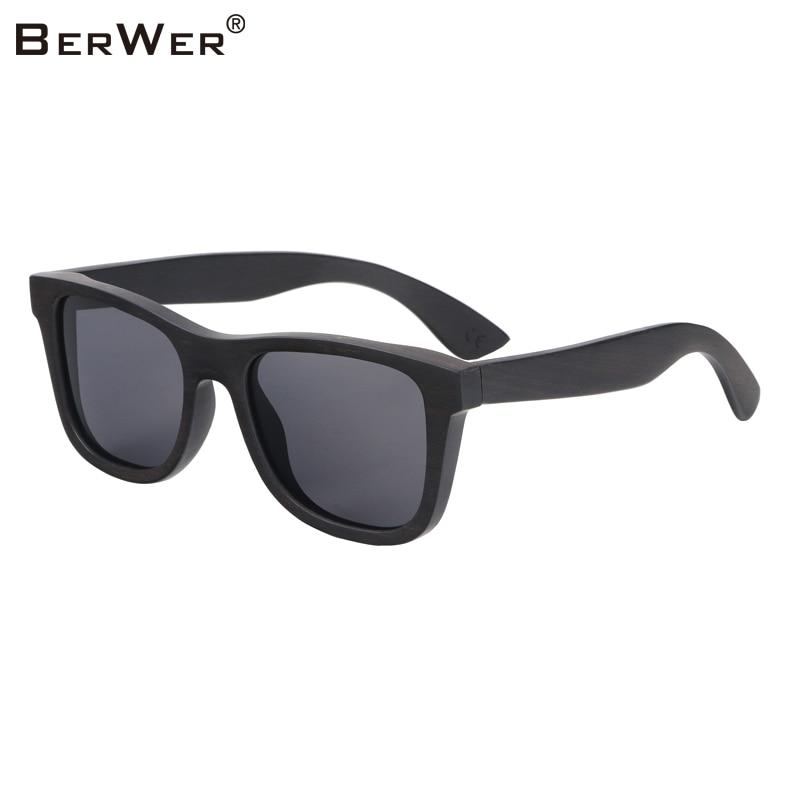 BerWer 100% naravna ebony lesena sončna očala uniseks polarizirana sončna očala moška oculos de sol feminino moda