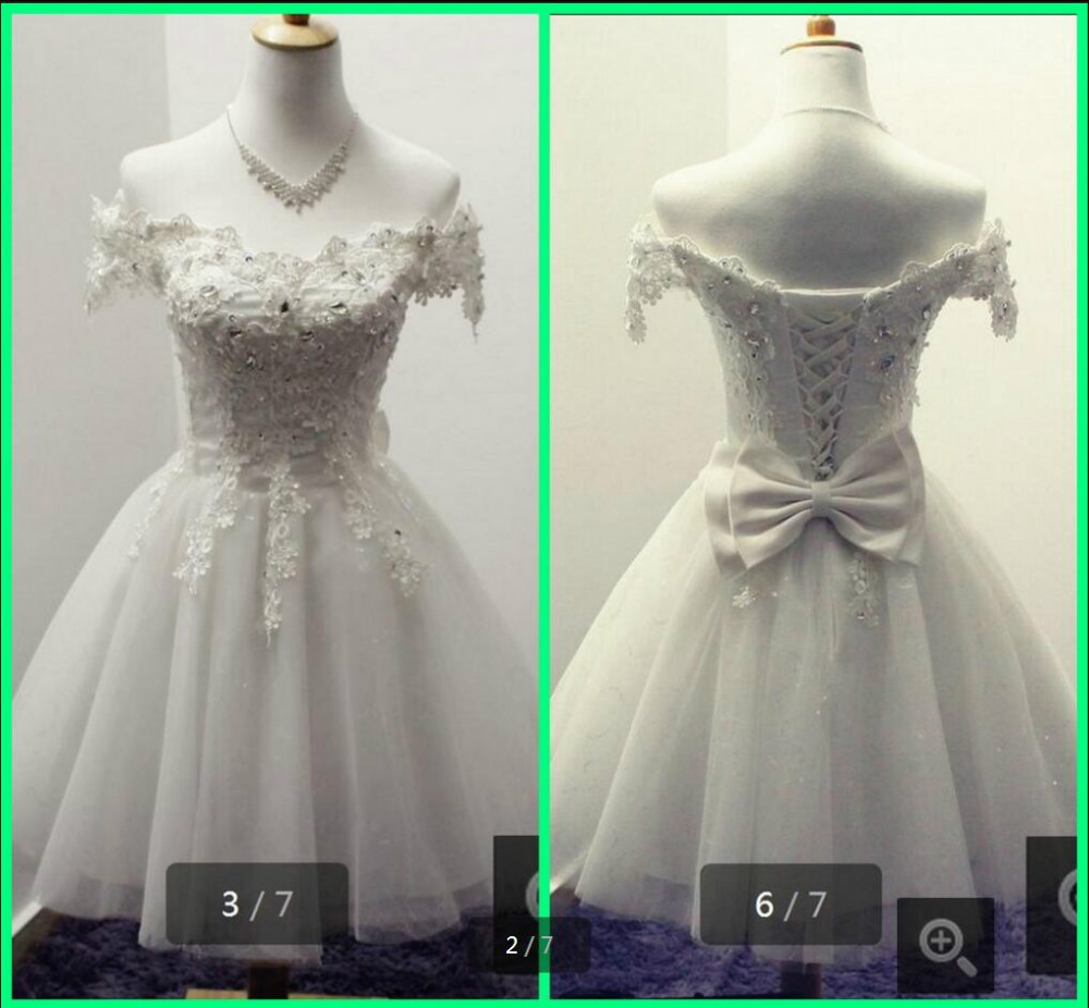2016 new design short a line little white petite wedding dresses scoop neck beaded crystals informal
