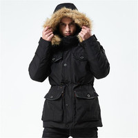 2018 winter new style mid size thicker cotton padded clothes fashion warmth waist hair collar men's windbreaker cotton clothes