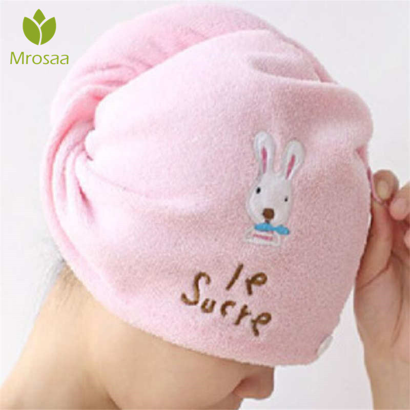Cute Drying Towel Head Wrap Hat Soft Hair Towel Microfiber Solid Quickly Dry Hair Hat Women Girls Ladies Cap Bath Accessories