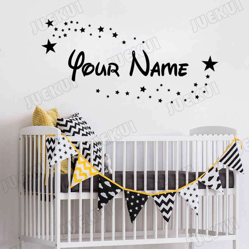 Bedroom Nursery Baby Cot Crib personalised Sticker Mickey font decal