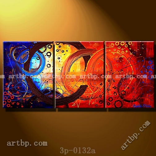 The Circle Story Oil Painting On Canvas Wall Decoration 3 Panel Pcs Set Art Abstract Techniques Large Acrylic In Calligraphy