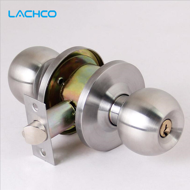 Stainless Steel Brushed Round Ball Privacy Door Knob Set Handle Lock W/ Key  Bathroom Nickel