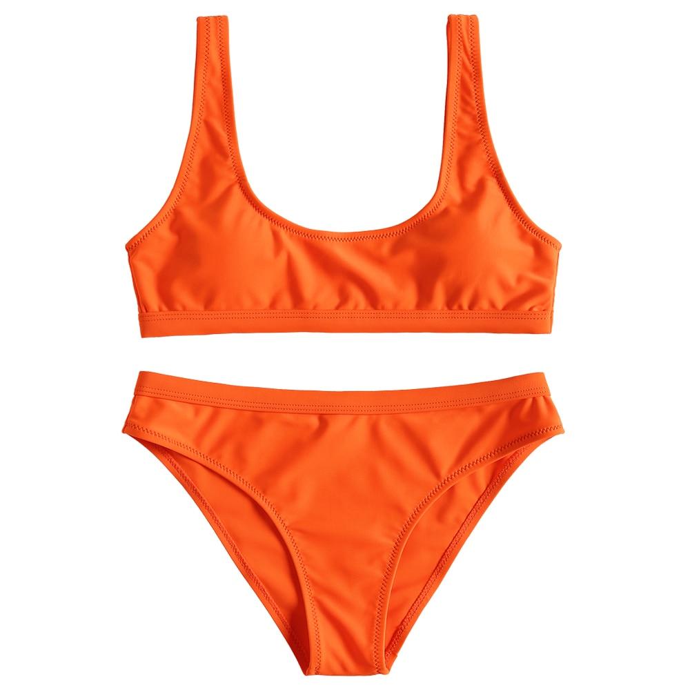 Zaful U Neck Bikini Set Scoop Padded Bikini Sport Swimsuit