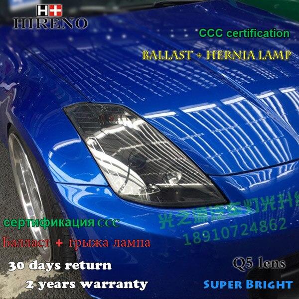 Hireno Headlamp for 2003-08 Nissan 350Z Headlight Assembly LED DRL Angel Lens Double Beam HID Xenon 2pcs hireno headlamp for mercedes benz w163 ml320 ml280 ml350 ml430 headlight assembly led drl angel lens double beam hid xenon 2pcs